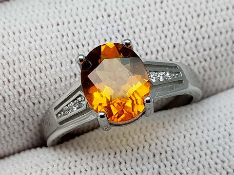16.75CT MADEIRA CITRINE 925 SILVER RING