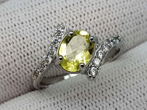 15CT LEMON QUARTZ 925  SILVER RING