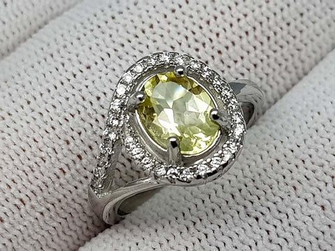 14CT LEMON QUARTZ 925  SILVER RING
