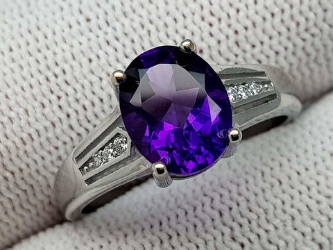 17CT AMETHYST 925 SILVER RING