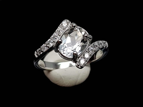 16CT WHITE TOPAZ 925 SILVER RING