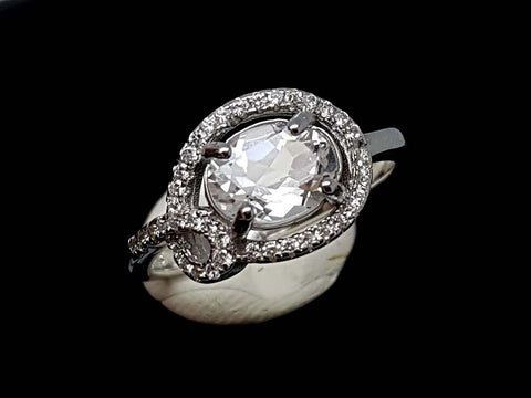 15CT WHITE TOPAZ 925 SILVER RING