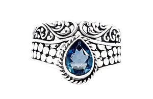 21CT SWISS BLUE TOPAZ  925 SILVER HAND MADE RING  IGCJE23 - imaangems17