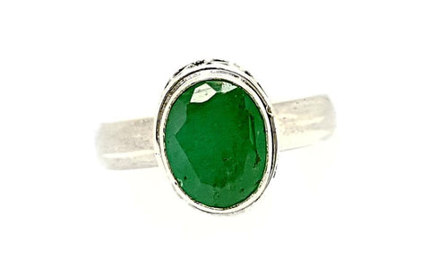 25CT EMERALD 925 SILVER HAND MADE RING  IGCJE37