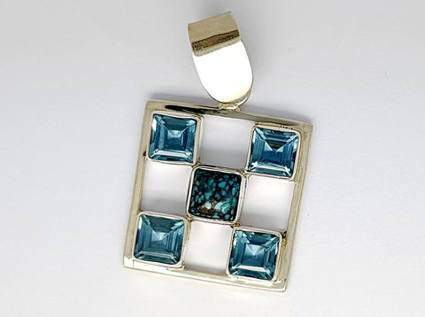 31.55CT BLUE TOPAZ  AND TURQIOUSE  925 SILVER HAND MADE PENDANT IGCJE45 - imaangems17