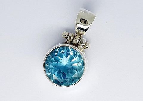 23CT BLUE TOPAZ 925 SILVER HAND MADE PENDANT IGCJE48 - imaangems17