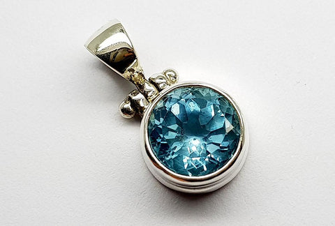 23CT BLUE TOPAZ 925 SILVER HAND MADE PENDANT IGCJE49 - imaangems17
