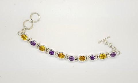 112CT AMETHYST AND CITRINE  925 SILVER HAND MADE BRACELET IGCJE54 - imaangems17