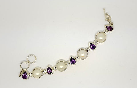 156CT AMETHYST AND PEARL  925 SILVER HAND MADE BRACELET IGCJE55 - imaangems17