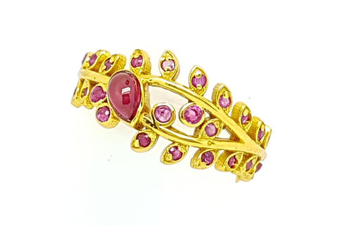 15CT RUBY  925 SILVER HAND MADE RING GOLD PLATED IGCJE57 - imaangems17