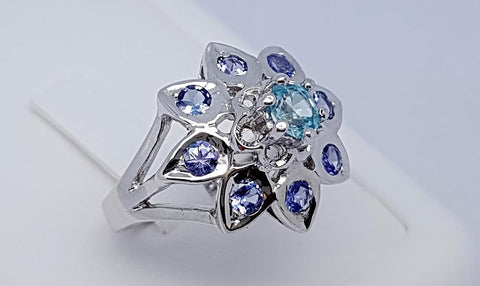 29 CT TANZANITE AND ZIRCON 925 SILVER HAND MADE RING IGCJE79 - imaangems17