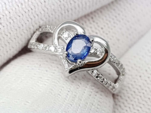 15CT NATURAL SAPPHIRE 925 SILVER RING IGCSRR13 - imaangems17