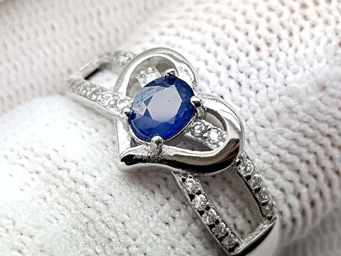 15CT NATURAL SAPPHIRE 925 SILVER RING IGCSRR33 - imaangems17