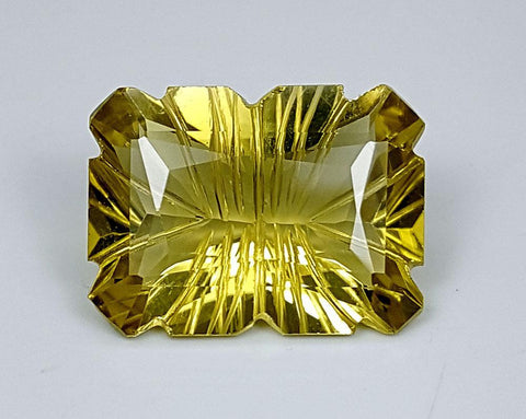 8.55CT LEMON QUARTZ CONCAVE CUT IGCCV11