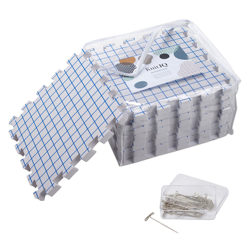 KnitIQ 9 Extra Thick Blocking Boards with Grids with 100 T-pins and Storage Bag