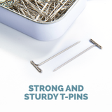 KnitIQ Strong Stainless Steel T-Pins for Blocking, Knitting & Sewing | Checkered Design