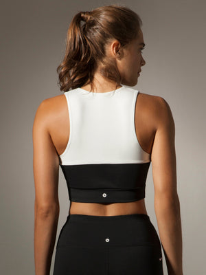 Yin & Yang Crop Top in White/Black