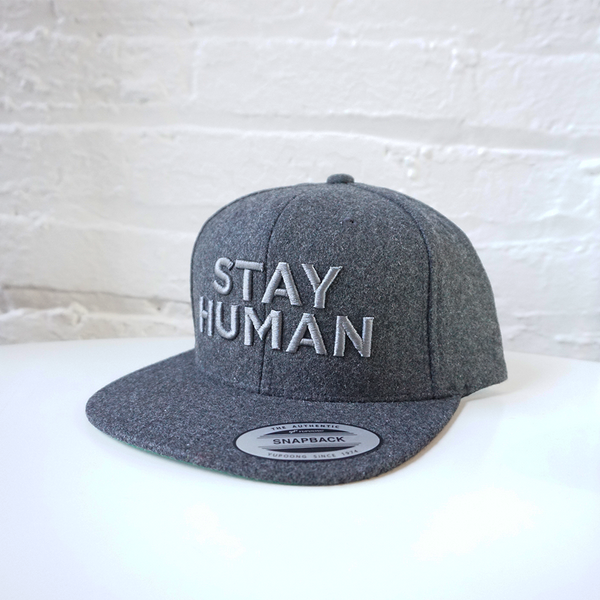Stay Human Snapback Hat (Grey/Grey)