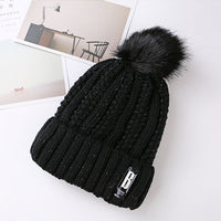 New Pom Poms Winter Hat for Women Solid Warm Hats Knitted ski cap girl cap1