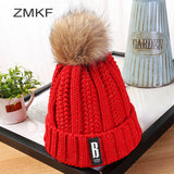 New Pom Poms Winter Hat for Women Fashion Solid Warm Hats Knitted ski cap girl