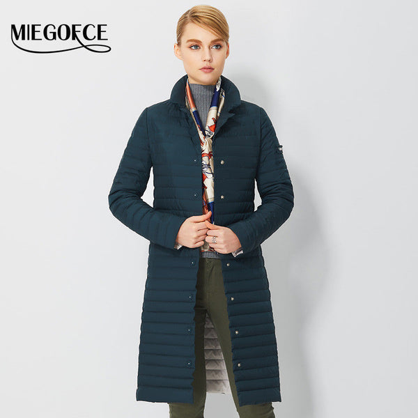 Thin Women Quilted Parkas Long Women Cotton Padded Jacket Spring Windproof
