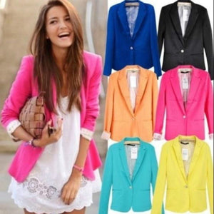 Hot Blazer Women New Candy Color Jackets Suit Slim yards Ladies Blazers