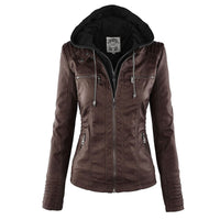 Gothic faux leather Jacket Women hoodies Winter Autumn Motorcycle Jacket Black