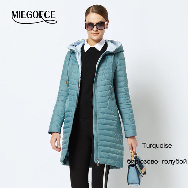 Spring Women's Parka Coat Windproof Thin Cotton Jacket winter jkt2