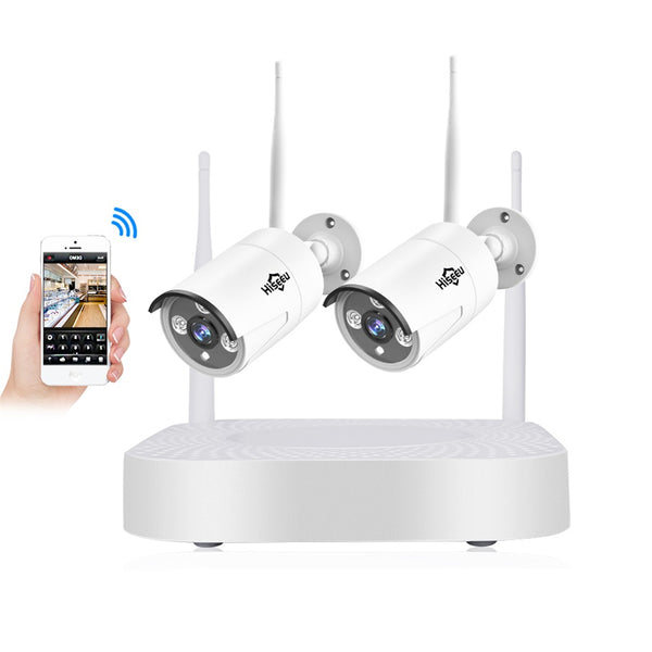 Hiseeu 2CH 960P Wireless CCTV System 1.3 Outdoor IP Camera NVR Recorder Video Security Camera System