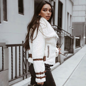 Turndown collar teddy jacket coat women Streetwear casual white faux fur coat Zipper sash outerwear winter jacket  jkt2