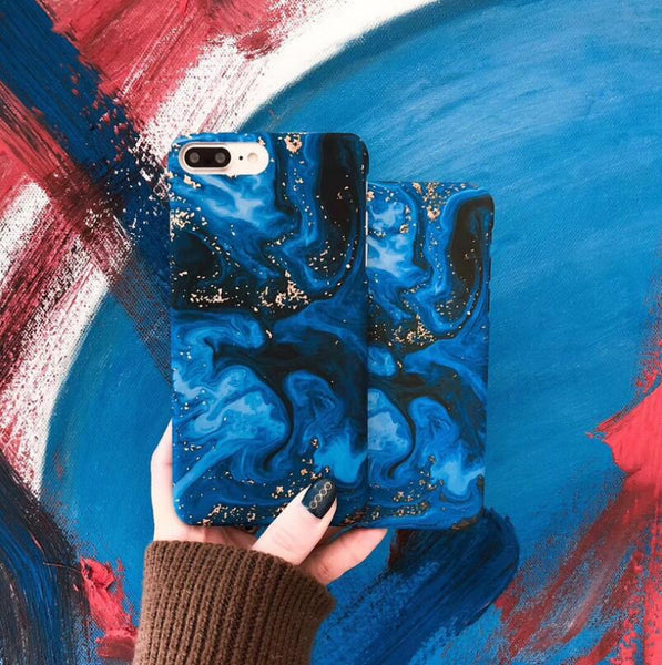 Sea Oil Painting Phone Case For iPhone XS XR XS Max X 6 6s 7 8 Plus Matte Hard Half-wrapped Back Cover Cas1