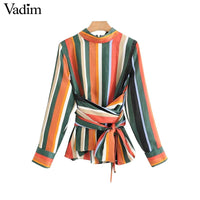 Vadim women vintage bow tie color striped shirt stand collar zipper long sleeve blouse retro autumn casual tops blusas LT2385