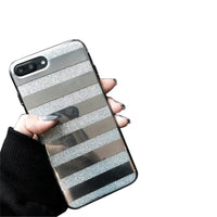 Phone Case for iphone 7 Plus Glitter Powder Phone Case Mirror Striped Pattern Back Cover for iphone 7 Plus 5.5inch Best Touching