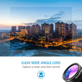 VICTSING 3-in-1 Phone Camera Lens Kit Aluminum Clip-On 180 Degree Fisheye Lens + 0.65X Wide Angle + 10X Macro Lens For iPhone
