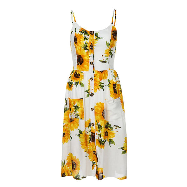 Elegant V Neck Floral Print Midi Dress Women Elastic Waist Button Summer Beach Long Dress dre1