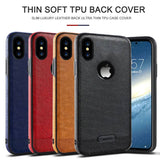 For Apple iPhone X 8 7 6 6S Plus Case Luxury Ultra Slim Soft TPU Leather Back Full Cover For iPhone X 8 6 6S 7 Plus Phone Cases