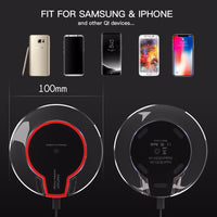 Roybens Qi Wireless Charger Mini Charging Pad Fast Charger Dock for Apple iPhone X 10 8 / 8 Plus Samsung Galaxy S9 Plus S8 S7