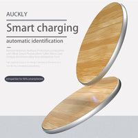 Fast Wireless Charger, Wofalo 10W Bamboo Qi Wireless Charging Pad with Matte Aluminum Universal Newest Model for iPhone 8/ 8 Plu