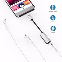 Wofalo 2in1 for Lightning Extension Cable for iPhone 8 10 X Charger Splitter Headphone Adapter for iPhone 7 Charging Adapter