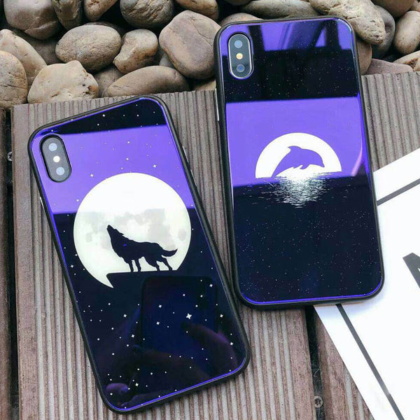 Glass Moon Stars Astronaut Case For iPhone X Phone Cases For iPhone 7 8 6 6S Plus Glossy Dolphin Wolf Hard Back Cas1