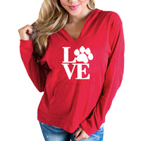 Fashion LOVE Letter Paws Print Women Hoodies Spring Long Sleeve Hooded Casual Hoody 4 colors Pullover Sweatshirts