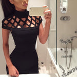 Party Night Turtle Neck Club Dress Hollow Out Mesh Slim Dresses Sexy Skinny Cut Off Black Mini Bodycon Brand Vestidos New