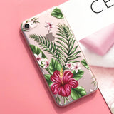Silicone Case For iPhone 7 7Plus 6 6S 6Plus 5 5S SE Case Flower Leaves Bird For iPhone 6S 8Plus X XS Max cas1