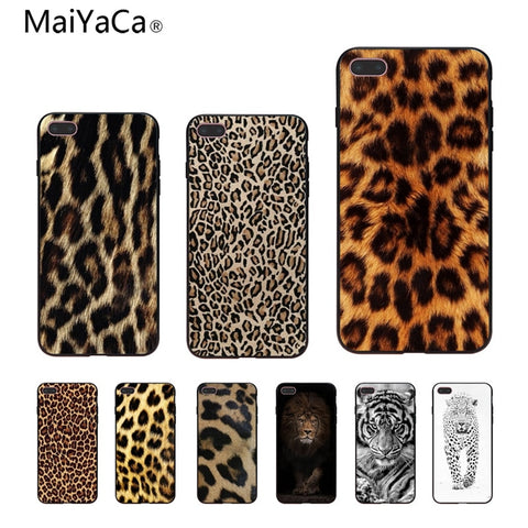 Tiger Leopard Print Panther Photo Soft Phone Case For iPhone 7 plus 6S 5 6S plus 8 8plus X Mobile phone shell cas1