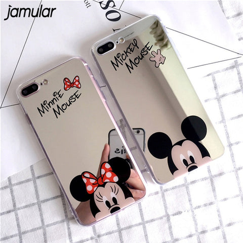 Cartoon Mickey Minnie Mouse Mirror Case For iPhone 7 8 Plus 5S SE X Soft Silicone Cases For iPhone 6 6S XS MAX XR cas1