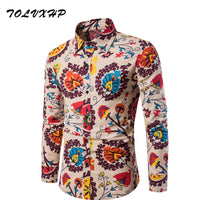 Fashion Shirt Male Flax Dress Shirts Slim Fit Mens Hawaiian Shirt shi1