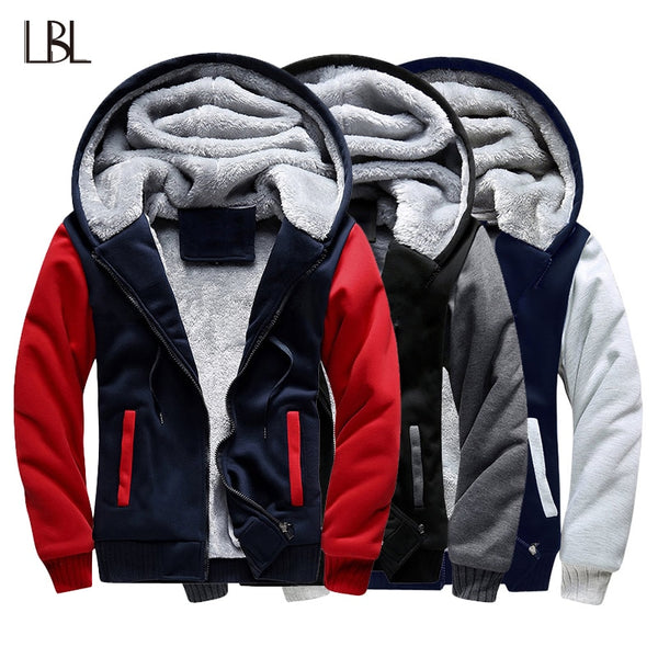 Mens Fleece Warm Hoodies Winter Outwear Thicken Jacket Men Slim Fit Zipper Hooded Hoody Man Streetwear  jkt1