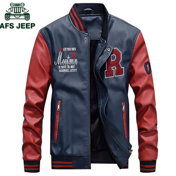 AFS JEEP Embroidery Baseball Jackets Men Letter Stand Collar Pu Leather Coats Plus Size 4XL Fleece Pilot  jkt1