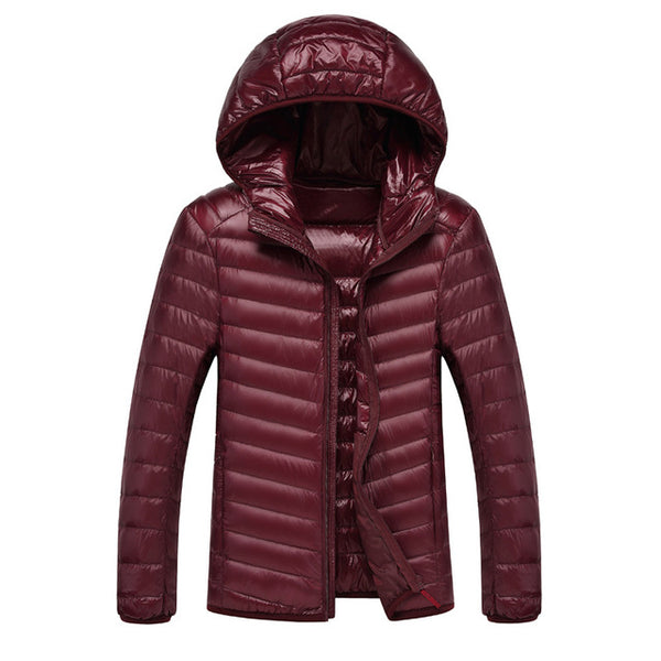 Men's Down jacket Ultra Light Down Jacket Men Lightweight Feather Hooded Warm Portable Winter Coat jkt1