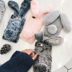 For iPhone 7 Case 3D Cute Rabbit Hairy Warm Fur Plush Bunny Case Cover for iPhone XS 4 4S 5 5S SE 5C 6 6S 8Plus cas1